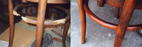 Dog chewed Bentwood chair showing stages of repair and finished condition.