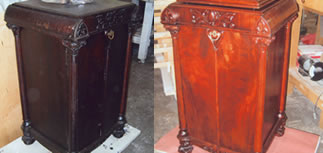 Early 1900's Music Cabinet; showing missing veneer, repaired veneer, and final finish.