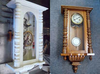 Painted wall clock, refinished in wood tones.