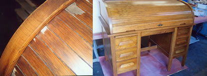 Roll top desk showing missing veneer, during repair, colored in repairs, and finished condition.